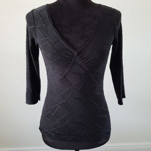3/$20 Wrapper Textured V-neckline Fitted Blouse